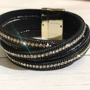 Black and rhinestone wrap bracelet